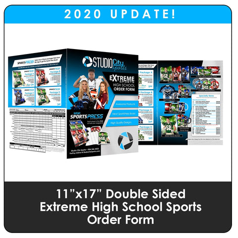 "2020 Update - High School Extreme Sports 11""x17"" Order Form Downloadable Template Photo Solutions PSMGraphix"