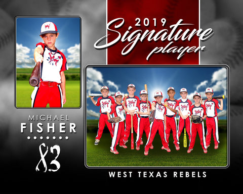 Signature Player - Baseball - V1 - Drop In Memory Mate H Template Downloadable Template Photo Solutions PSMGraphix