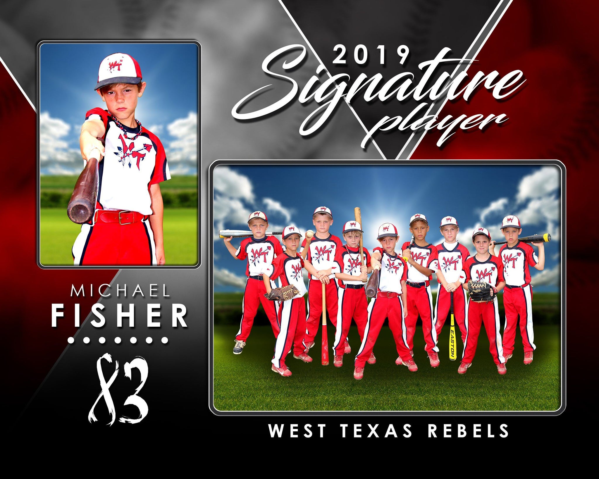 Signature Player - Baseball - V2 - Drop In Memory Mate H Template-Photoshop Template - Photo Solutions