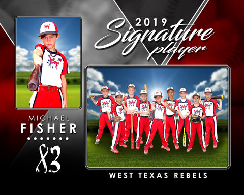 Signature Player - Baseball - V2 - Drop In Memory Mate H Template Downloadable Template Photo Solutions PSMGraphix