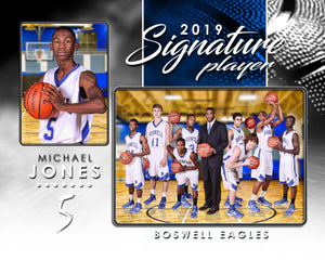 Signature Player - Basketball - V1 - Drop In Memory Mate H Template-Photoshop Template - Photo Solutions