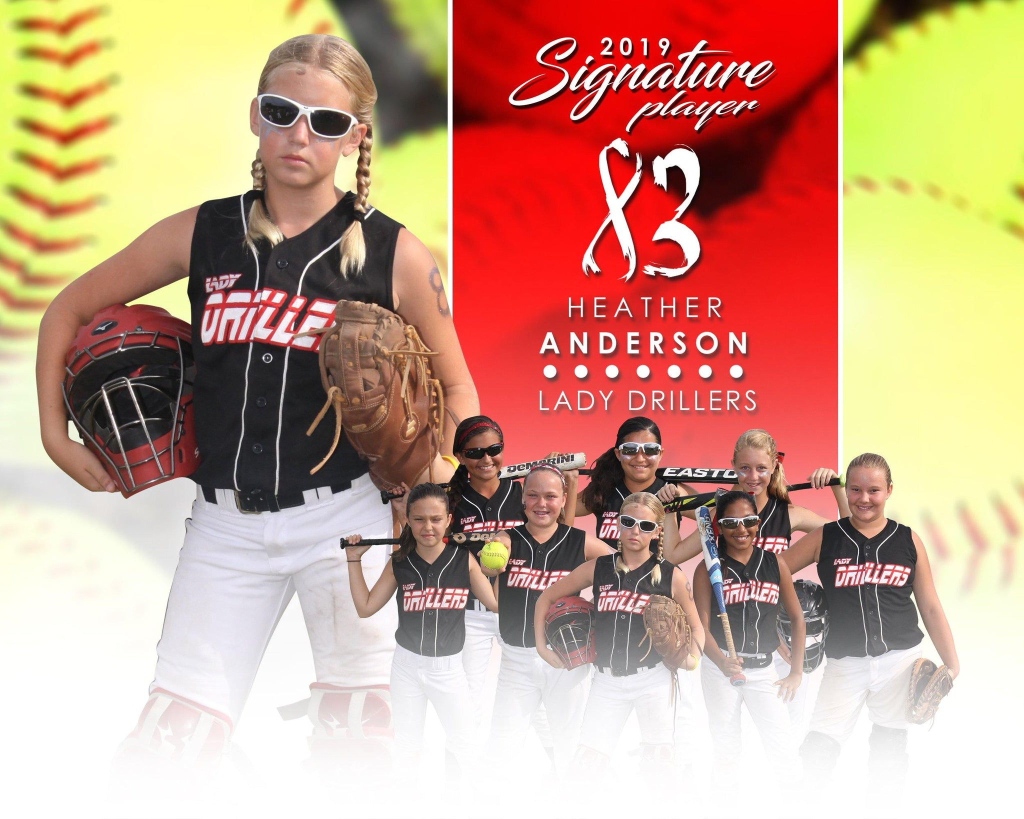 Signature Player - Softball - V1 - Extraction Memory Mate H Template-Photoshop Template - Photo Solutions
