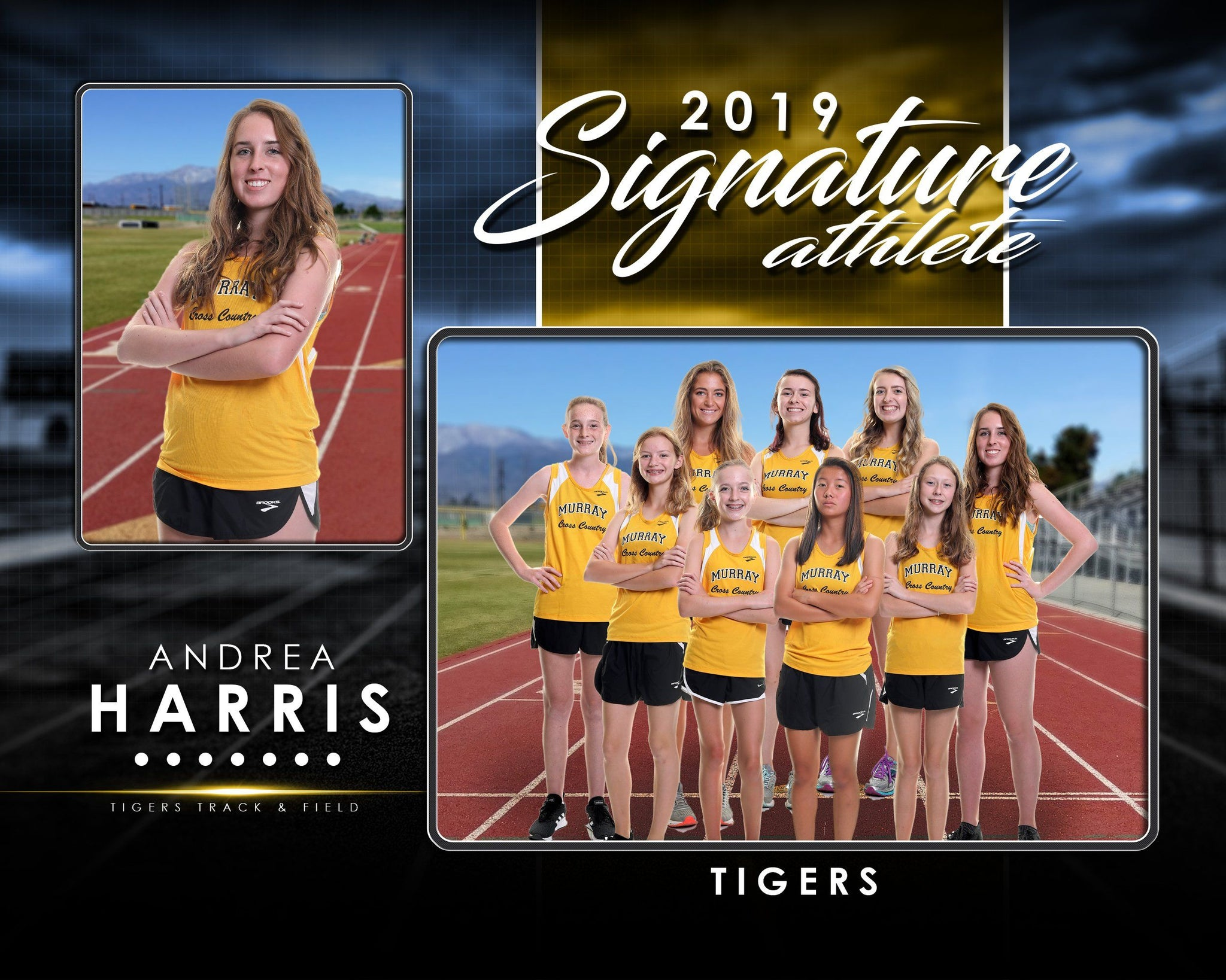 Signature Player - Track & Field - V1 - Drop In Memory Mate H Template-Photoshop Template - Photo Solutions