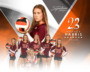 Signature Player - Volleyball - V2 - Extraction Memory Mate H Template-Photoshop Template - Photo Solutions
