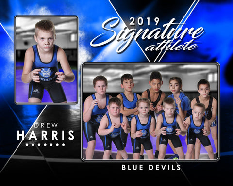 Signature Player - Wrestling - V2 - Drop In Memory Mate H Template-Photoshop Template - Photo Solutions