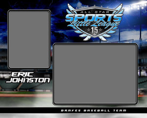 Baseball Night Game - Signature Series - Memory Mate - H-Photoshop Template - Photo Solutions
