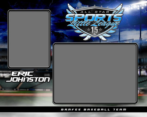 Baseball Night Game - Signature Series - Memory Mate - H Photoshop Template -  PSMGraphix