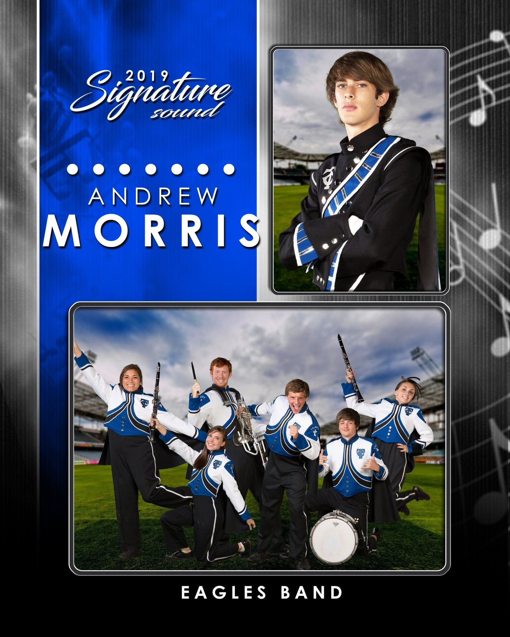 Signature Player - Band- V1 - Drop In Memory Mate V Template-Photoshop Template - Photo Solutions