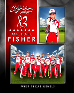 Signature Player - Baseball - V1 - Drop In Memory Mate V Template-Photoshop Template - Photo Solutions