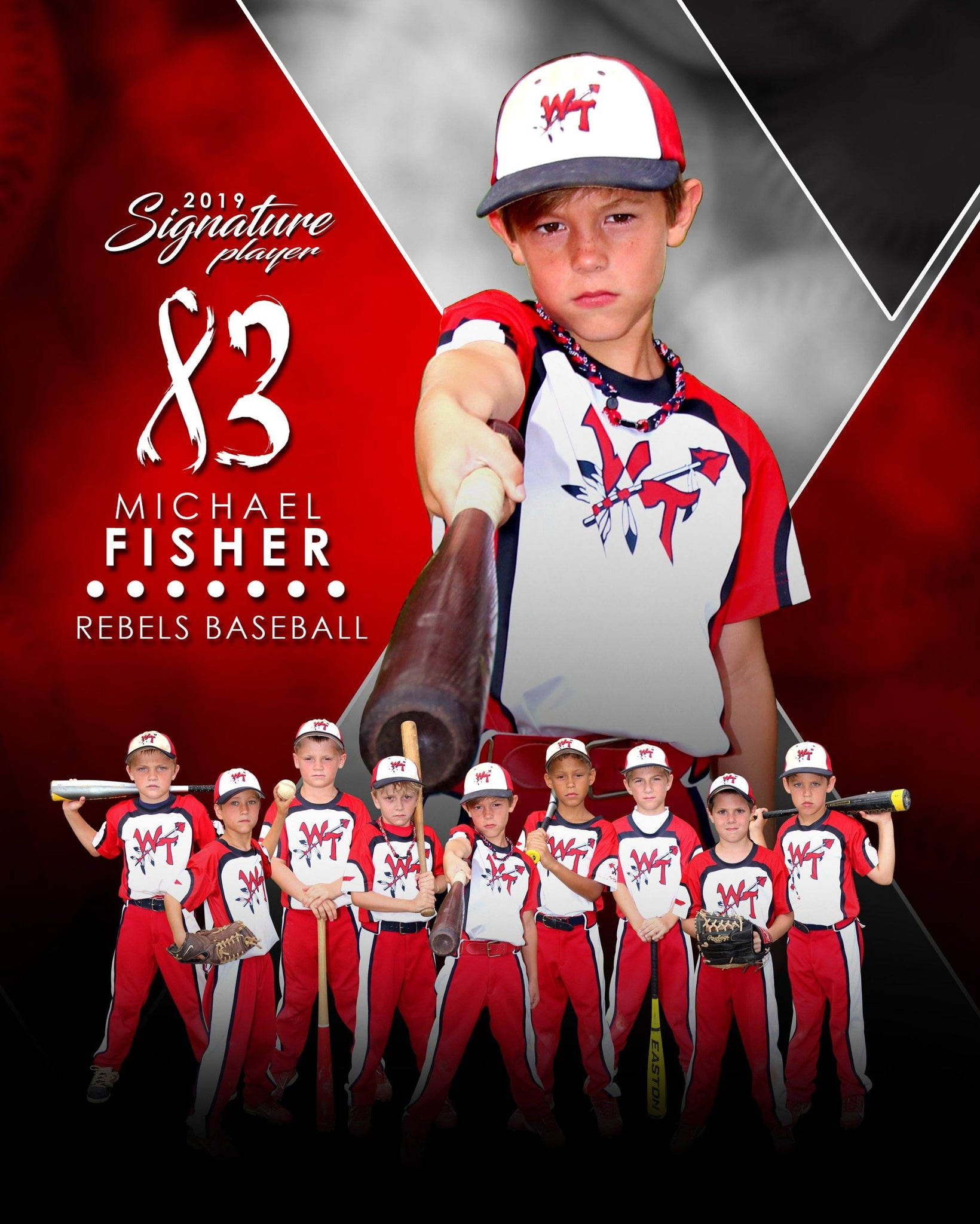Signature Player - Baseball - V2 - Extraction Memory Mate V Template-Photoshop Template - Photo Solutions