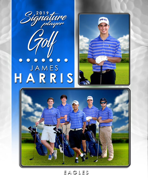 Signature Player - Golf - V1 - T&I Drop-In Collection-Photoshop Template - Photo Solutions