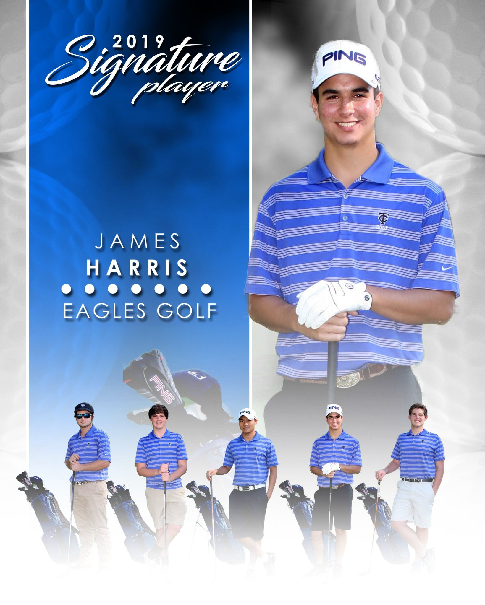 Signature Player - Golf - V1 - Extraction Memory Mate V Template-Photoshop Template - Photo Solutions