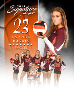 Signature Player - Volleyball - V1 - Extraction Memory Mate V Template-Photoshop Template - Photo Solutions