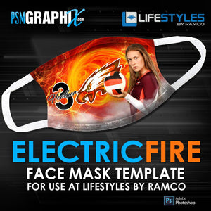 Electric Fire - Face Mask Template (Ramco)-Photoshop Template - PSMGraphix