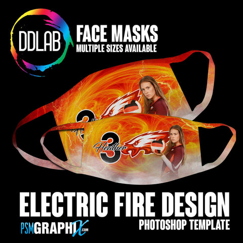 Electric Fire - Face Mask Template Set (DDLAB) 3 Sizes-Photoshop Template - PSMGraphix