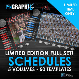 ULTIMATE LIMITED TIME OFFER! Game Day Schedule Full Collection-Photoshop Template - PSMGraphix
