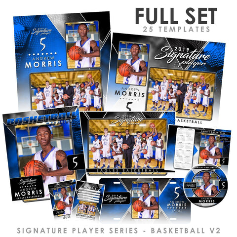 Signature Player - Basketball - V2 - T&I Drop-In Collection-Photoshop Template - Photo Solutions