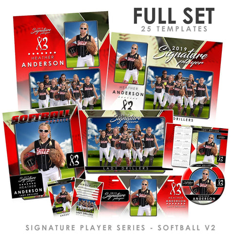 Signature Player - Softball - V2 - T&I Drop-In Collection-Photoshop Template - Photo Solutions