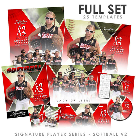 Signature Player - Softball - V2 - T&I Extraction Collection Downloadable Template Photo Solutions PSMGraphix