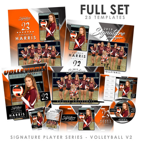 Signature Player - Volleyball - V2 - T&I Drop-In Collection-Photoshop Template - Photo Solutions