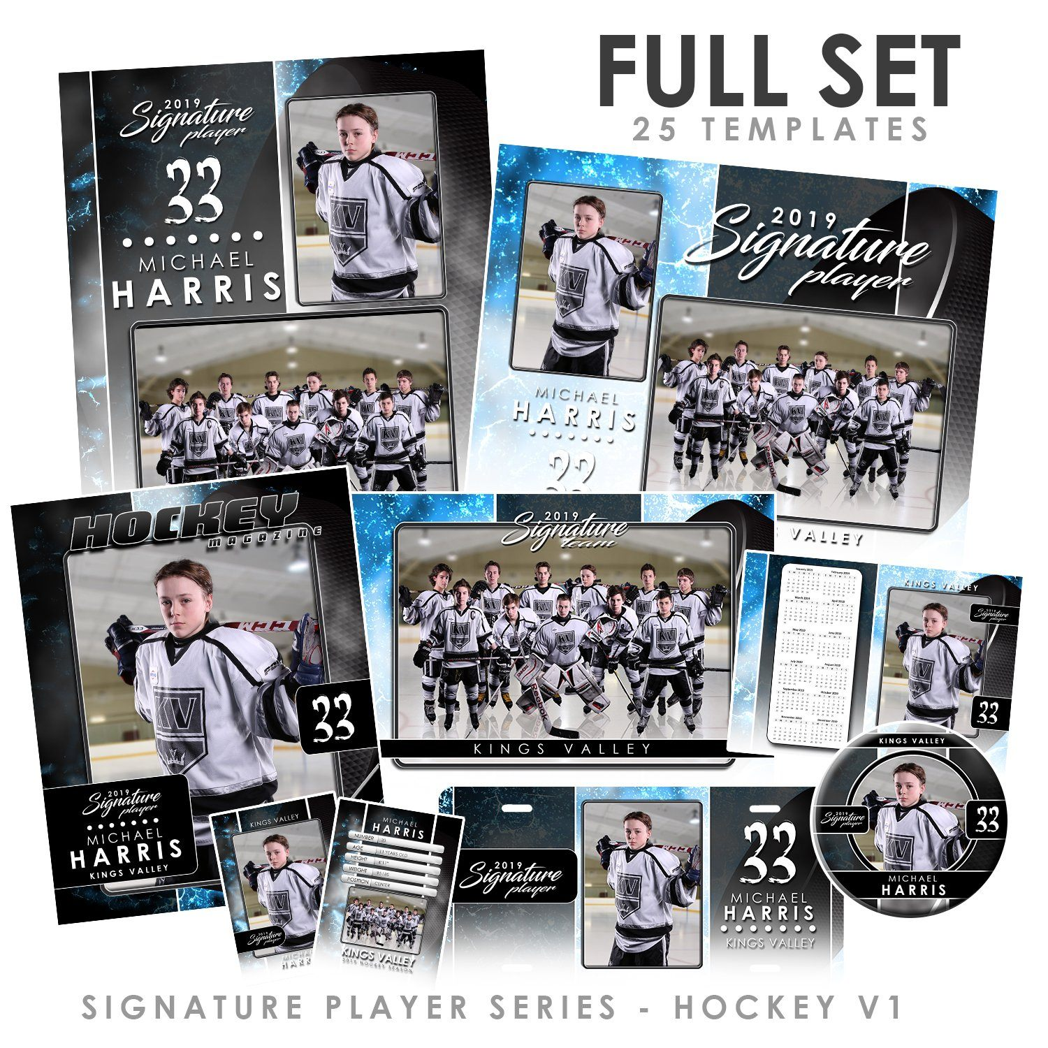 Signature Player - Hockey - V1 - T&I Drop-In Collection-Photoshop Template - Photo Solutions