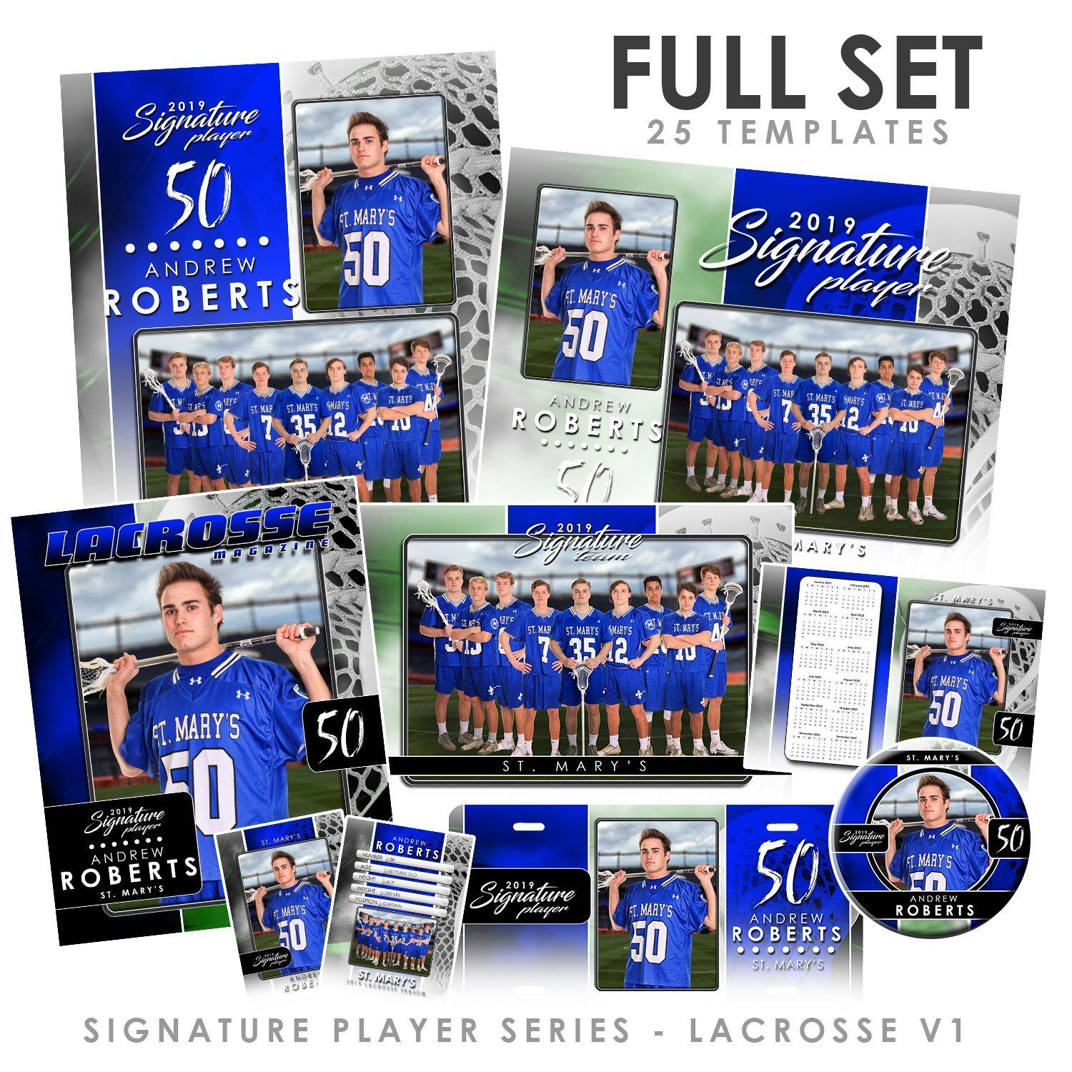 Signature Player - Lacrosse - V1 - T&I Drop-In Collection-Photoshop Template - Photo Solutions