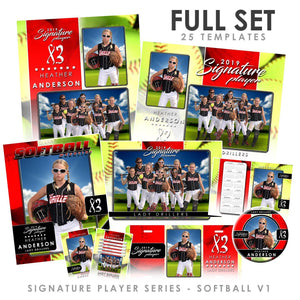 Signature Player - Softball - V1 - T&I Drop-In Collection-Photoshop Template - Photo Solutions