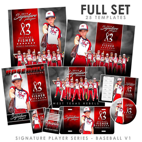 Signature Player - Baseball - V1 - T&I Extraction Collection-Photoshop Template - Photo Solutions
