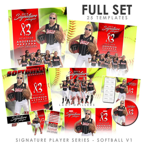 Signature Player - Softball - V1 - T&I Extraction Collection Downloadable Template Photo Solutions PSMGraphix