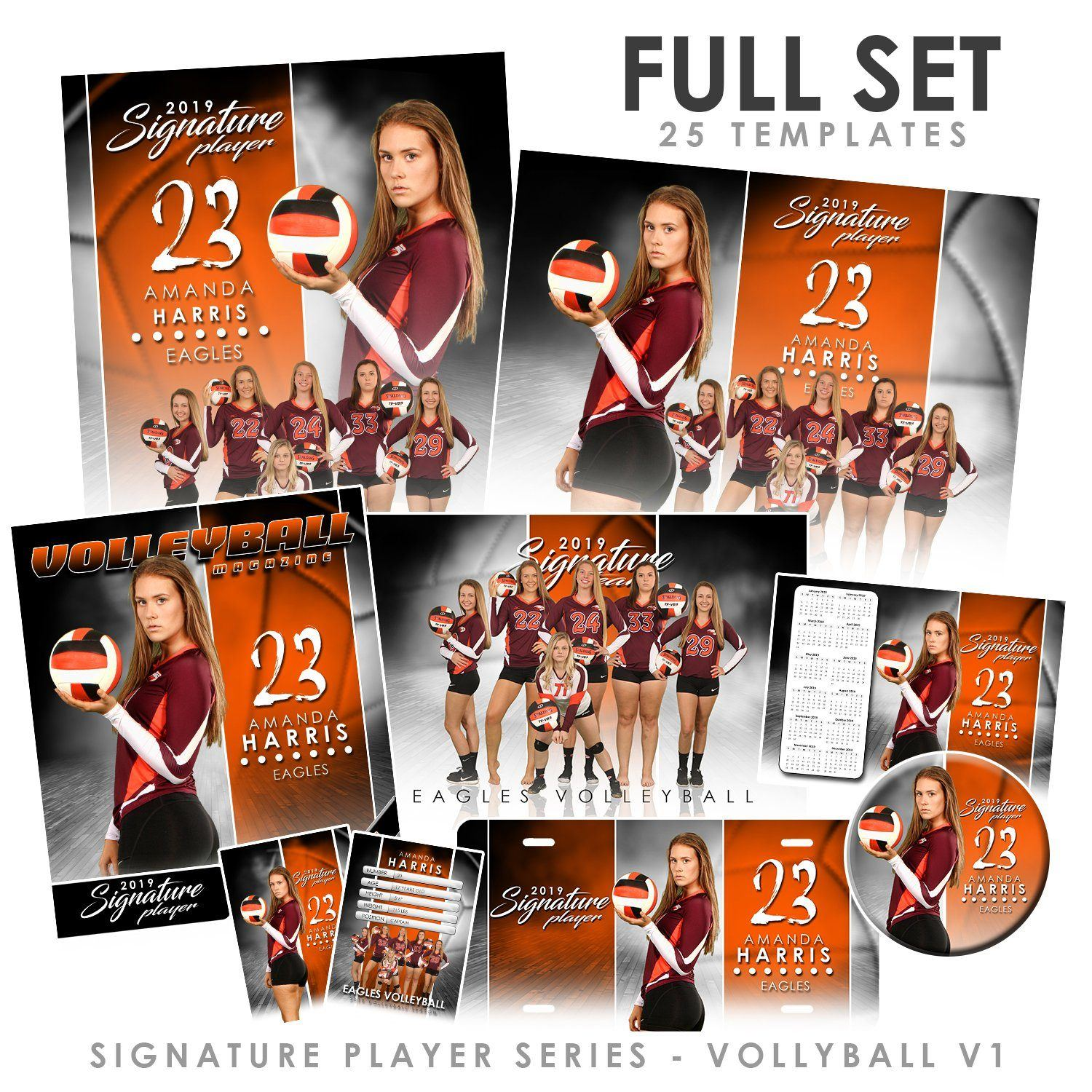 Signature Player - Volleyball - V1 - T&I Extraction Collection-Photoshop Template - Photo Solutions