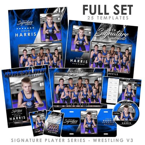 Signature Player - Wrestling - V3 - T&I Drop-In Collection-Photoshop Template - Photo Solutions