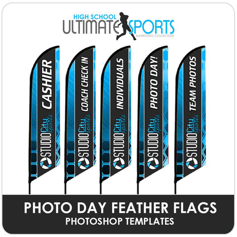 Photo Day Feather Flags - Ultimate High School Sports Marketing Templates Downloadable Template Photo Solutions PSMGraphix