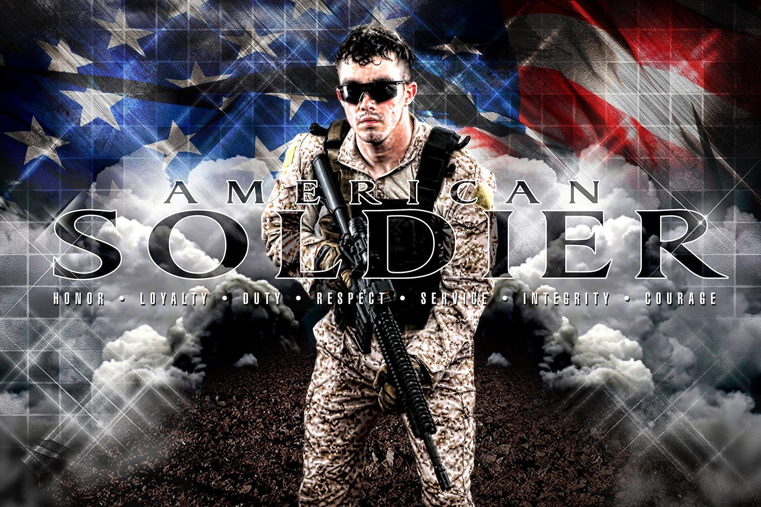 American Soldier - V.1 - Heroes Series - Poster/Banner H-Photoshop Template - Photo Solutions
