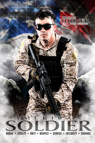 American Soldier - V.1 - Heroes Series - Poster/Banner-Photoshop Template - Photo Solutions