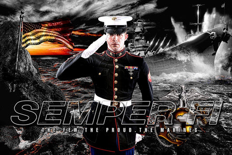 Marine/Navy - V.1 - Heroes Series - Poster/Banner H-Photoshop Template - Photo Solutions
