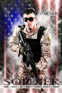 American Soldier - V.2 - Heroes Series - Poster/Banner Downloadable Template Photo Solutions PSMGraphix