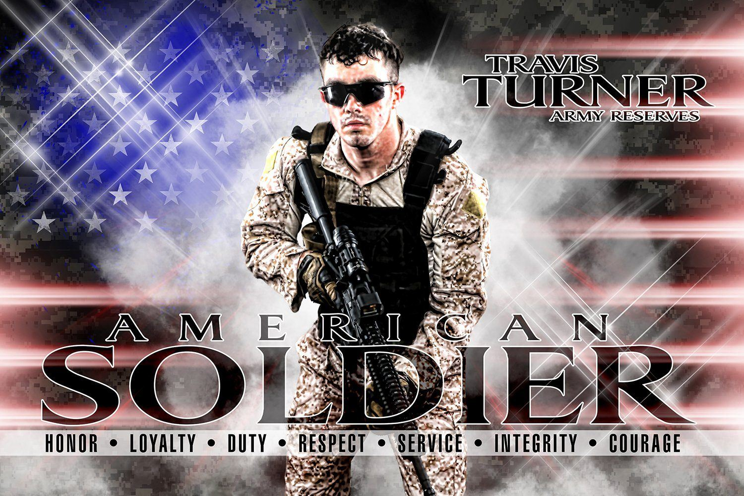 American Soldier - V.2 - Heroes Series - Poster/Banner H-Photoshop Template - Photo Solutions