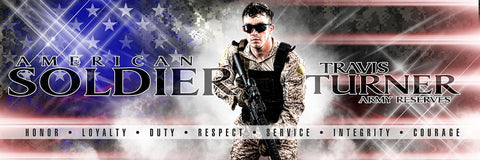 American Soldier - V.2 - Poster/Banner Panoramic Downloadable Template Photo Solutions PSMGraphix