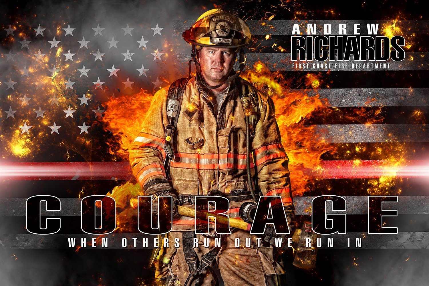 Fireman - V.2 - Heroes Series - Poster/Banner H-Photoshop Template - Photo Solutions