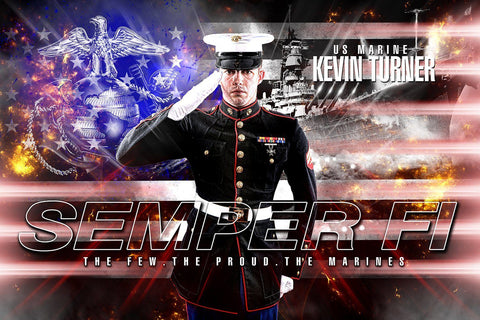 Marine/Navy - V.2 - Heroes Series - Poster/Banner H-Photoshop Template - Photo Solutions