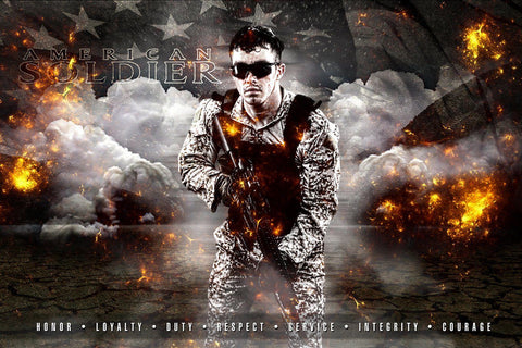 American Soldier - V.3 - Heroes Series - Poster/Banner H-Photoshop Template - Photo Solutions