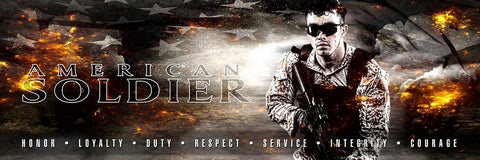American Soldier - V.3 - Poster/Banner Panoramic Photoshop Template -  PSMGraphix