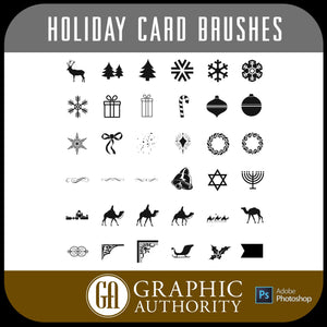 Holiday Christmas Card Photoshop ABR Brushes-Photoshop Template - Graphic Authority