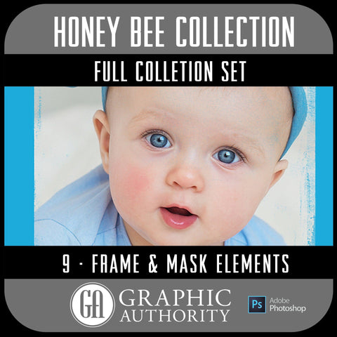 Honey Bee Collection - Full Set- 9 Frames & Masks-Photoshop Template - Graphic Authority
