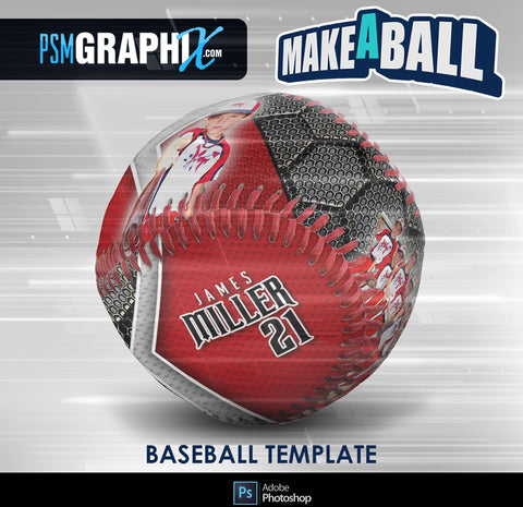 Honeycomb - V.1 - Baseball - Make-A-Ball Photoshop Template-Photoshop Template - PSMGraphix