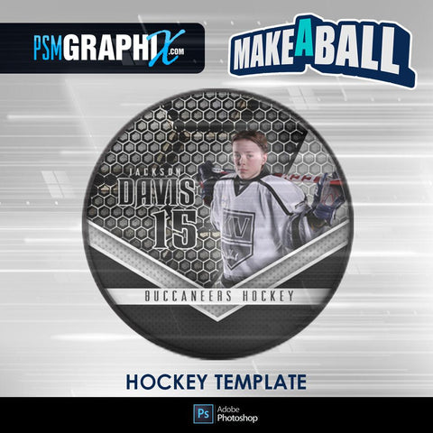 Honeycomb - V.1 - Hockey Puck - Make-A-Ball Photoshop Template-Photoshop Template - PSMGraphix