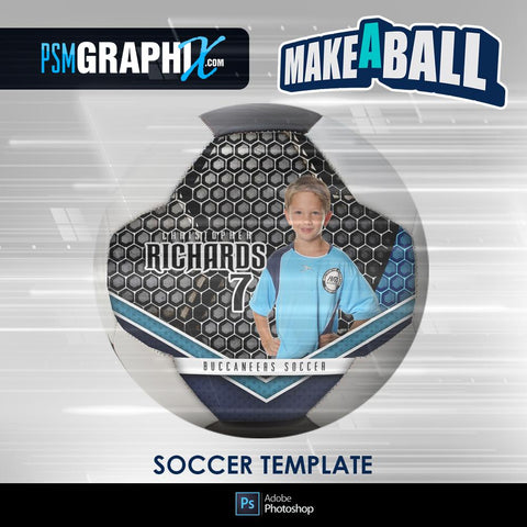 Honeycomb - V.1 - Soccer Ball (Full Size)  - Make-A-Ball Photoshop Template-Photoshop Template - PSMGraphix