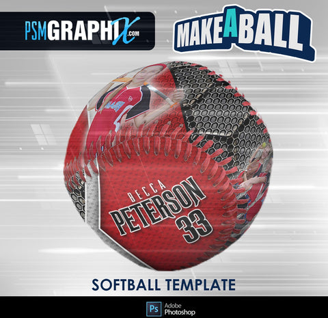 Honeycomb - V.1 - Softball - Make-A-Ball Photoshop Template-Photoshop Template - PSMGraphix