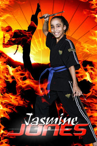 Fire Sunset - Martial Arts Series - Poster/Banner V-Photoshop Template - Photo Solutions