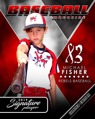 Signature Player - Baseball - V2 - Extraction Magazine Cover Template Downloadable Template Photo Solutions PSMGraphix